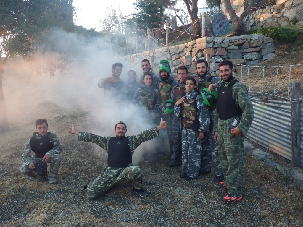 team building in Cyprus mountains, paintball